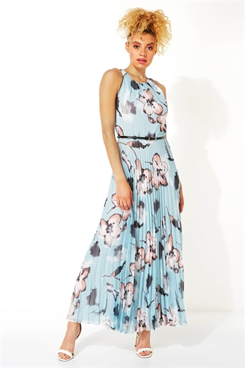Floral Halter Neck Pleated Maxi Dress