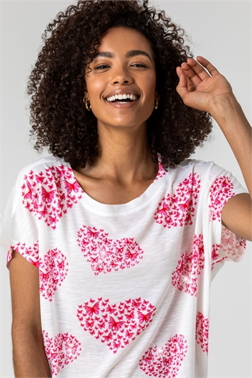 Ivory & Pink Butterfly Heart Print Top