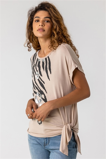 Neutral Animal Print Foil T Shirt