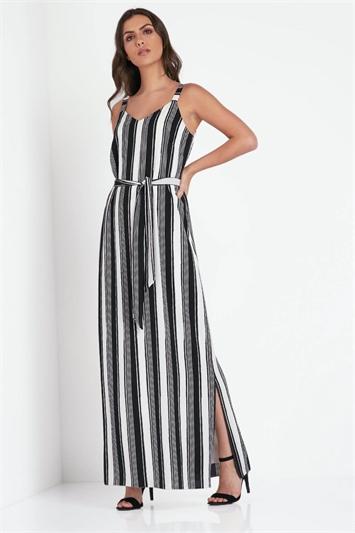 Monochrome Stripe Maxi Dress