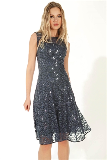 Glitter and Sequin Lace Fit and Flare Dress