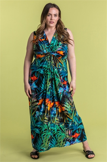 Curve Tropical Twist Waist Maxi Dress