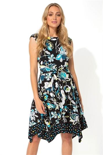 Contrast Print Hanky Hem Skater Dress
