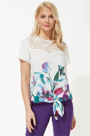 Floral Border Print Tie Front Top