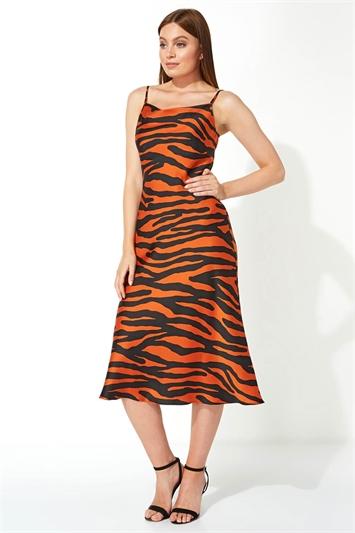 Animal Print Slinky Satin Midi Dress