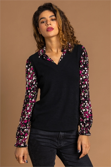 Black Floral Print Sweater Vest Top
