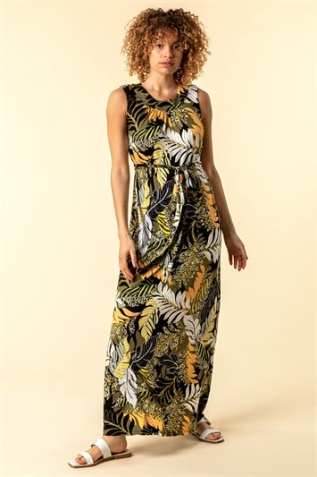 Tropical Print Belted Maxi Dress