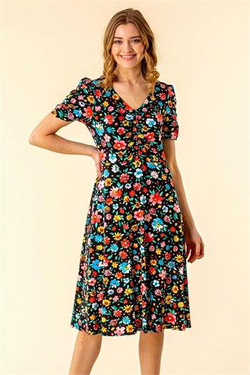Floral Print Gathered Front Dress