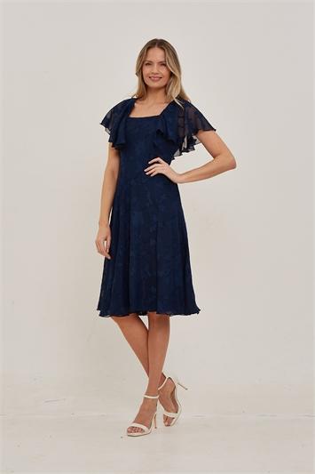 Navy Julianna Burnout Print Cape Sleeve Dress