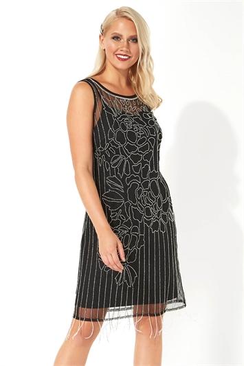 Floral Embellished Flapper Dress