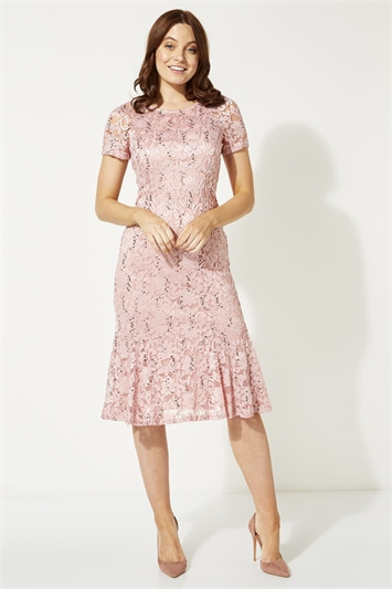 Metallic Lace Sequin Midi Dress