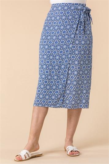 BLUE Geo Print Tie Detail Wrap Skirt