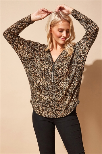 Zip Front Animal Print Top