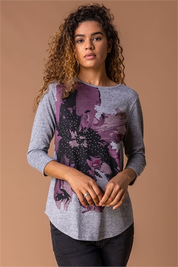 Grey Floral Print Embellished Top, Image 1 of 4