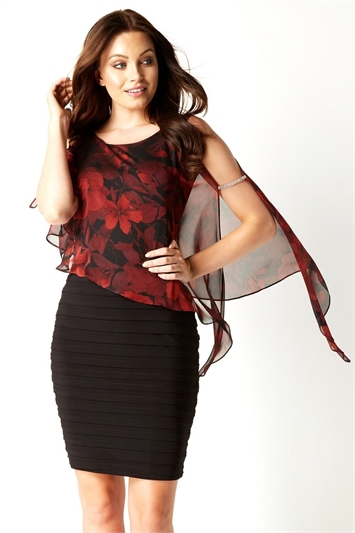 Rose Print Diamante Trim Chiffon Overlay Dress