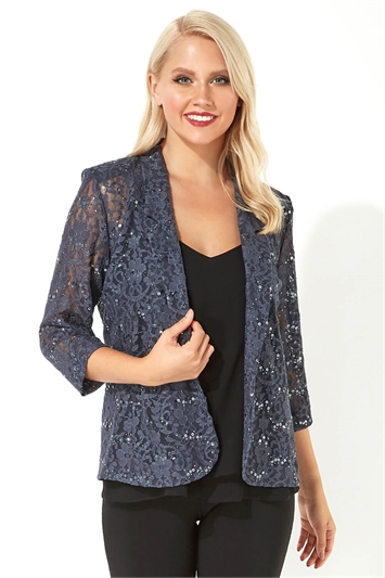 Lace Sequin Embellished Blazer