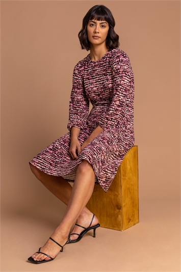 Rose Abstract Spot Tea Dress, Image 1 of 5