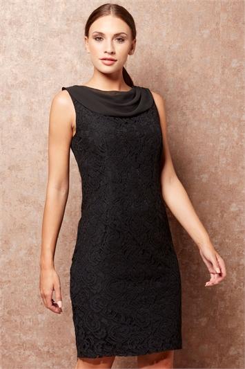 Lace Cowl Neck Dress