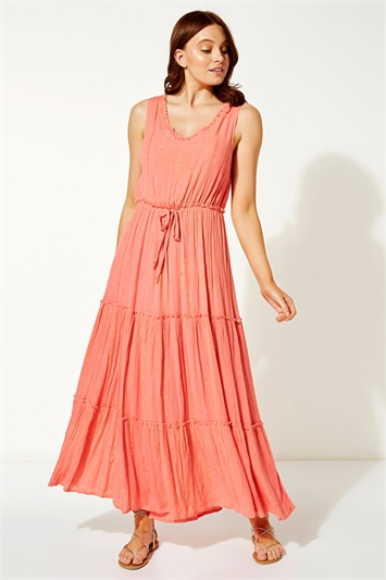 Tiered Tie Waist Maxi Dress