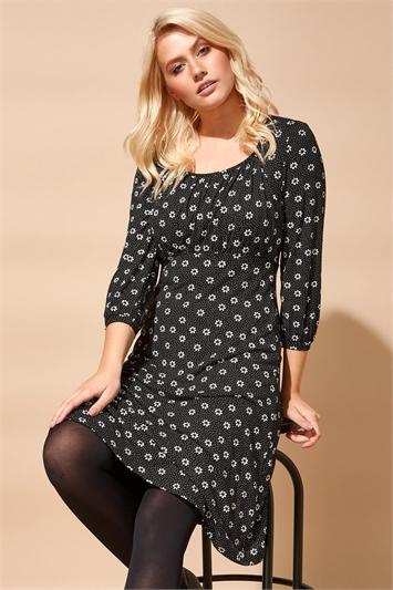 Black Square Neck Spot Daisy Print Dress