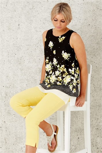 Floral Print Overlay Top