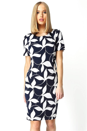 Navy Abstract Leaf Textured Print Shift Dress, Image 1 of 5