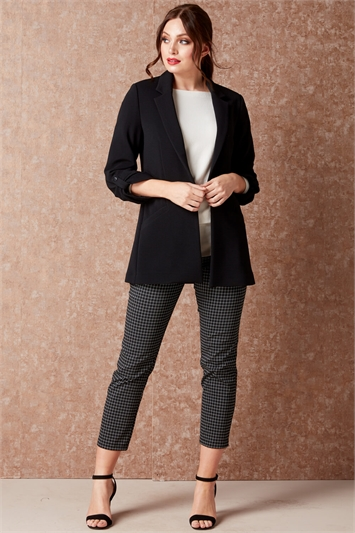 Check Cropped Stretch Trouser