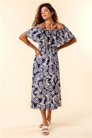 Palm Print Bardot Dress