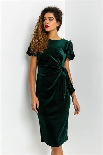 Green Velvet Bubble Sleeve Midi Dress, Image 1 of 4