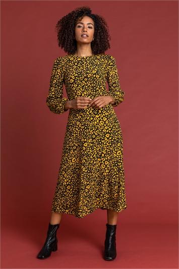 Amber Abstract Animal Print Midi Dress, Image 1 of 5