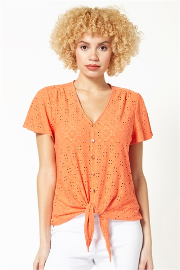 Broderie Button Down Tie Front Top