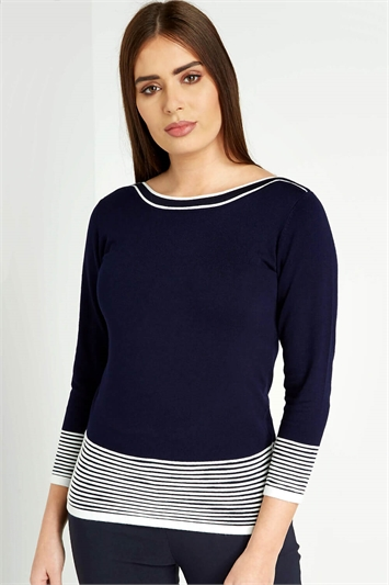 Contrast Stripe Knit Jumper