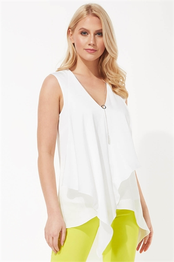 Sleeveless Asymmetric Necklace Trim Top