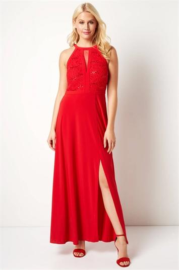Lace Body Keyhole Dress