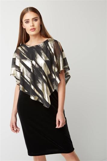 Chiffon Overlay Velvet Dress