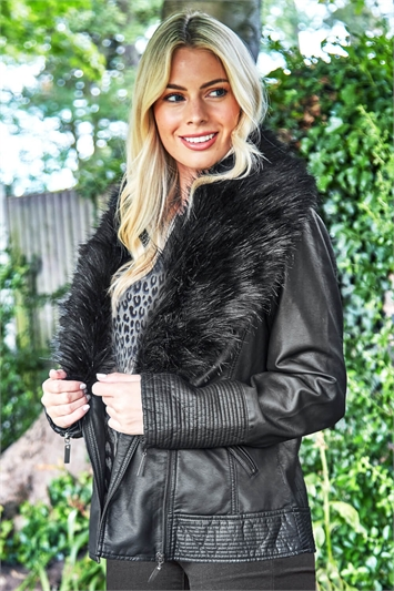 Faux Fur PU Leather Biker Jacket