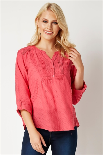 Roll Sleeve Cotton Top