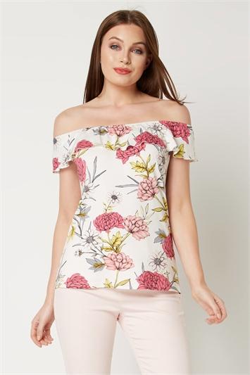 Frill Floral Bardot