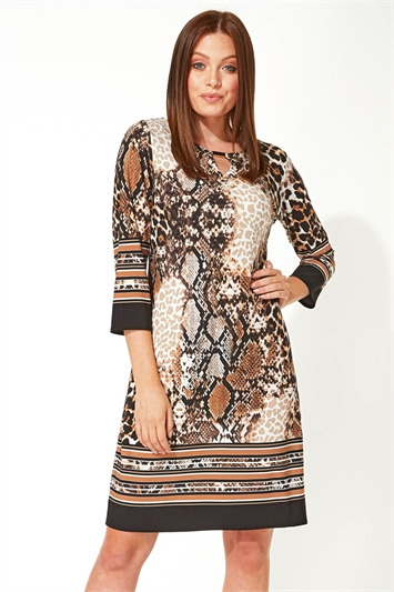 Animal Border Print Shift Dress