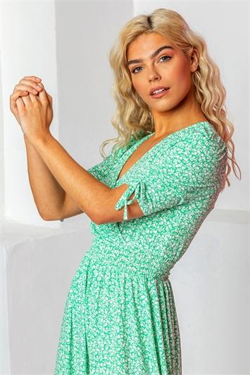 Mint Ditsy Floral Mock Wrap Dress