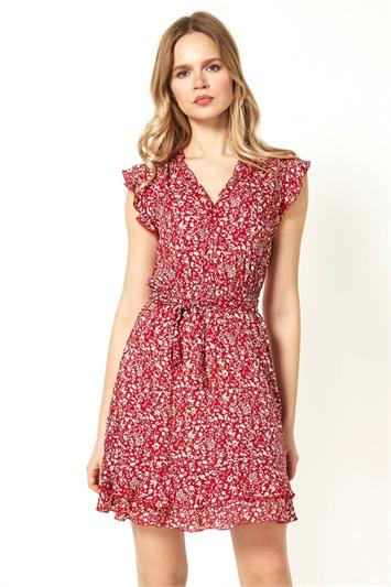 Floral Wrap Frill Dress