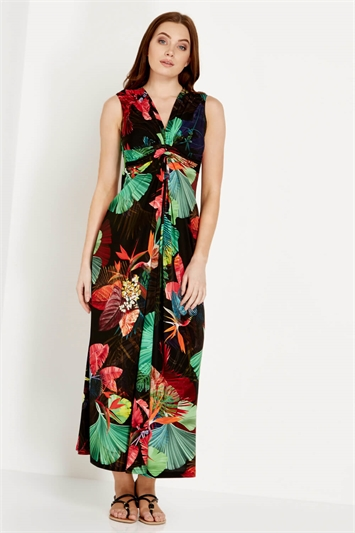 V Neck Tropical Print Maxi Dress