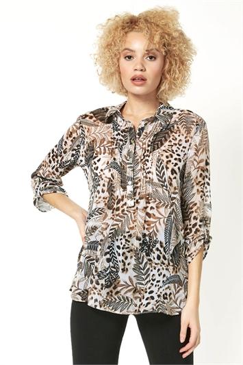 Animal Print Button Detail Shirt