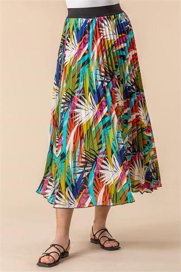 Multi Tropical Leaf Print Pleated Maxi Skirt