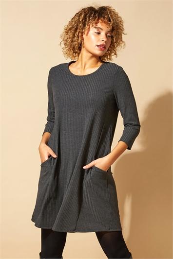 Dark-Grey Rib Detail Twin Pocket Swing Dress