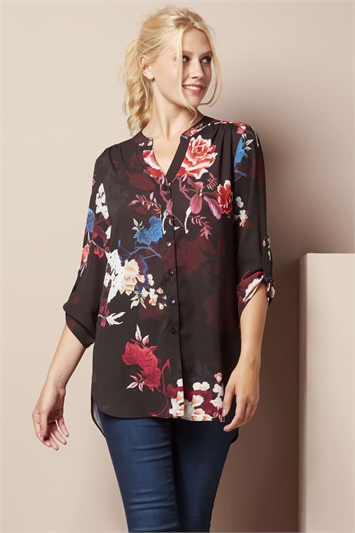 Floral Roll Sleeve Overshirt