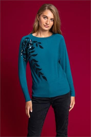 Teal Long Sleeve Sequin Leaf Jumper