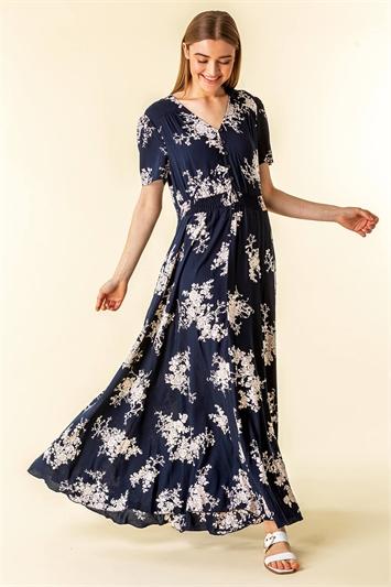 Navy Floral Print Shirred Waist Maxi Dress