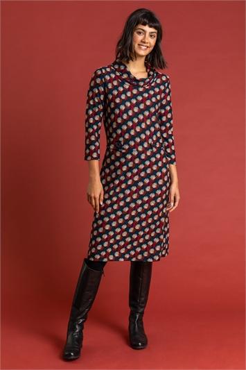 Multi Shell Print Cowl Neck Dress, Image 1 of 4