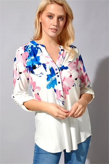 Floral Border Print Button Down Top